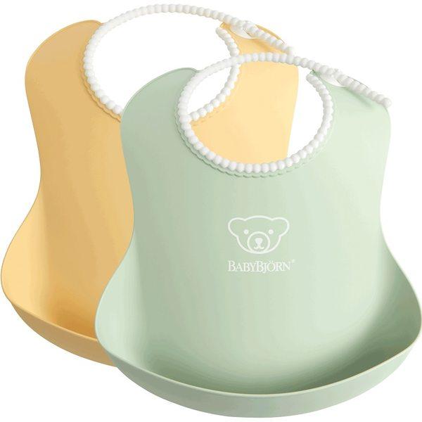 BabyBjorn Mīksts priekšautiņš Soft Bib Powder Yellow/Powder Green 2gb. 046342