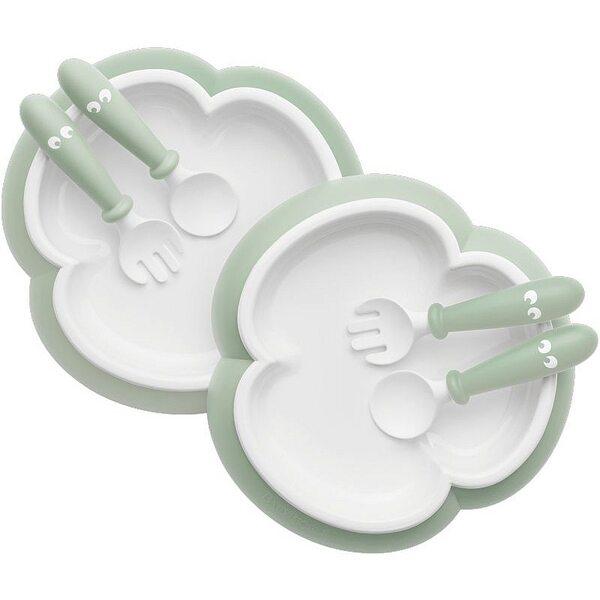 BabyBjorn Galda piederumi Baby Plate, Spoon and Fork 2 sets Powder green