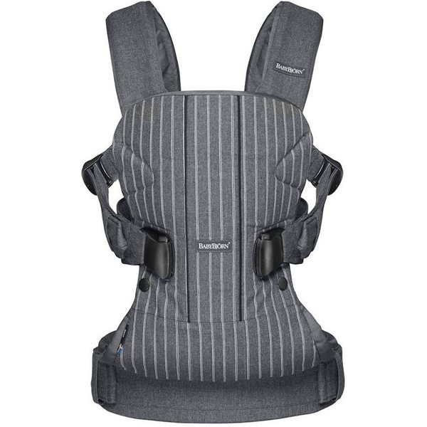 BabyBjorn Ķengursoma Baby Carrier One Pinstripe/Grey, Cotton 093036