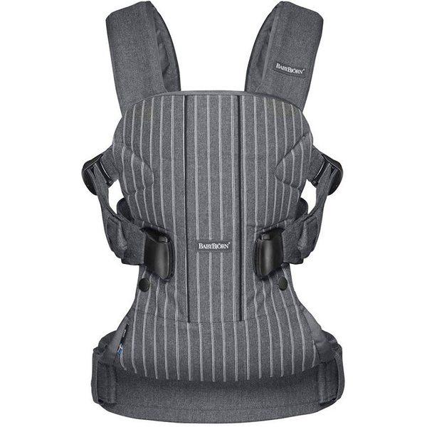 BabyBjorn Ķengursoma Baby Carrier One Pinstripe/Grey, Cotton 093036