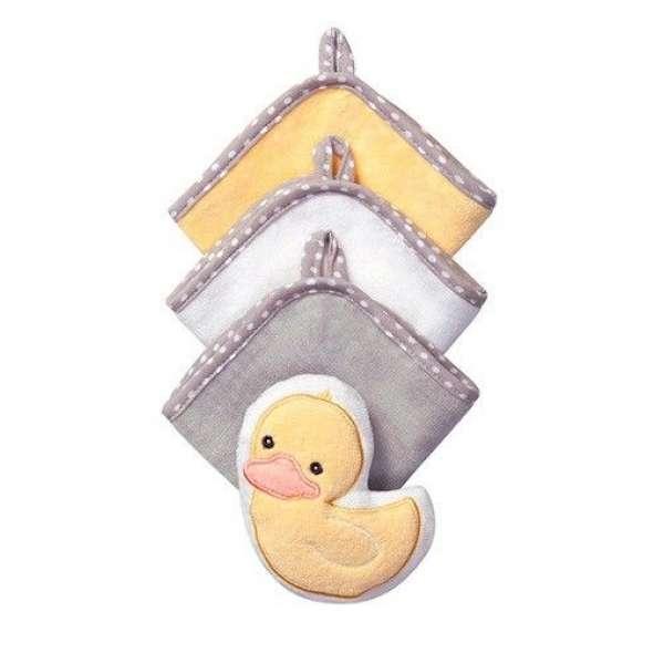 BabyOno 3 lupatiņas vannošanai  + švammīte, 143 Duck