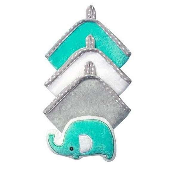 BabyOno 3 lupatiņas vannošanai  + švammīte, 143 Elephant