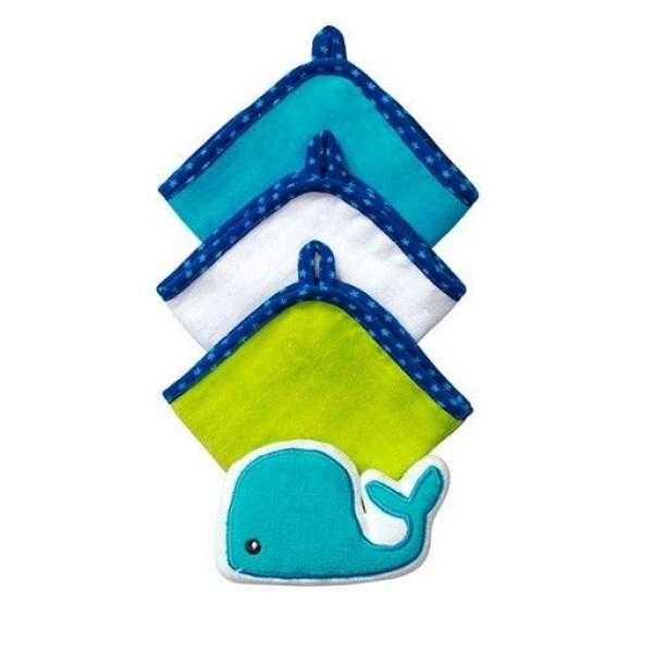 BabyOno 3 lupatiņas vannošanai  + švammīte, 143 Whale