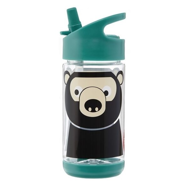 3 Sprouts Water Bottle Pudelīte Bear Teal 350 ml