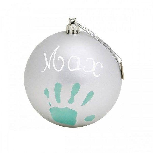 Baby Art Christmas Ball Komplekts mazuļa pēdiņu-rociņu nospieduma izveidošanai, Silver, 34120155