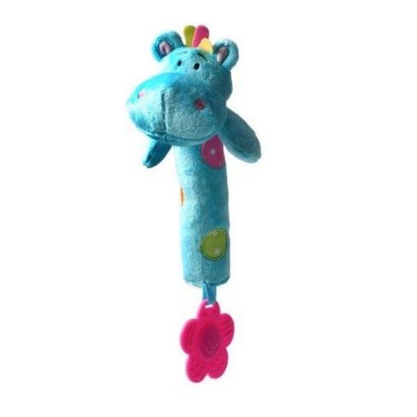 BabyOno Rotaļlieta ar pīkstuli un zobu riņķi Hippo, 998