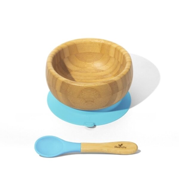 Avanchy Bamboo Suction Baby Bowl and Spoon Trauku komplekts bērniem Blue