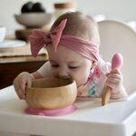 Avanchy Bamboo Suction Baby Bowl and Spoon Trauku komplekts bērniem Pink