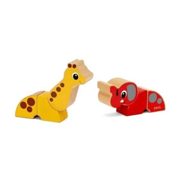 Brio Magnetic Giraffe and Elephant Magnētiskie koka kluči 30284