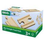 Brio Mini Straight Track Pack Koka dzelzceļa posmi 33393