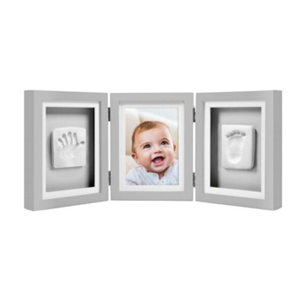 Pearhead Babyprints Deluxe Desk Frame Komplekts mazuļa pēdiņu/rociņu nospieduma izveidošanai Gray P63007