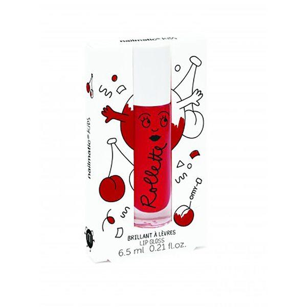 Nailmatic Kids Dabīgs un mitrinošs bērnu lūpu spīdums ar vitamīniem un augļu garšu Cherry, 6,5 ml, Rollcerise