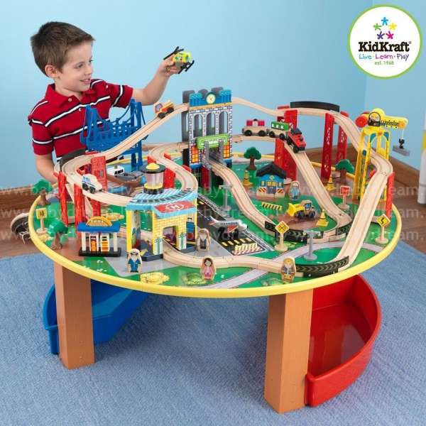 Kidkraft City explorer's train set and table - koka dzelzceļu komplekts, 17985