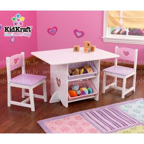 Kidkraft Heart Table & Chair Set with Pastel Bins - Galdiņš ar krēsliņiem, 26913