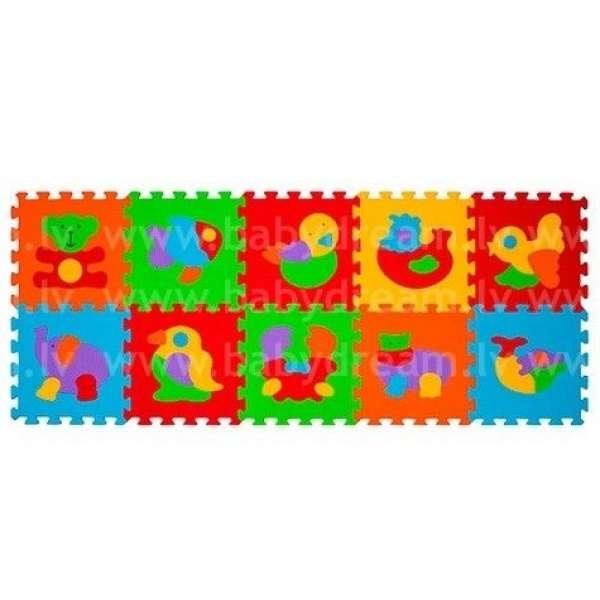 """BabyOno Puzzle-paklājiņš """"Dzīvnieki"""" 10 gab., 276"""