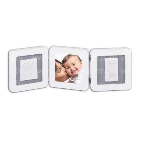 Baby Art Modern Trendy Double Print Frame komplekts mazuļa pēdiņu/rociņu nospieduma izveidošanai, white&grey, 34120052