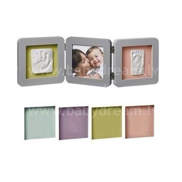 Baby Art Double Print Frame Grey Komplekts mazuļa pēdiņu/rociņu nospieduma izveidošanai, 34120139