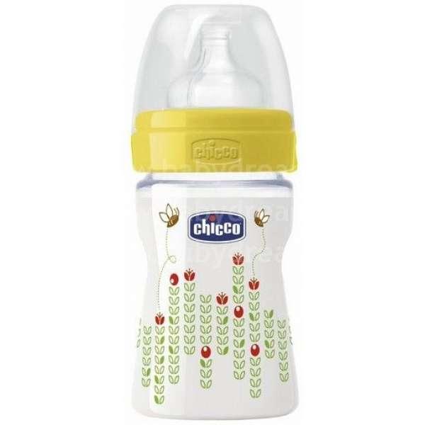 Chicco Fizioloģiska plastmasas pudelīte 150ml 0+ silikona knupīti, 70750.01