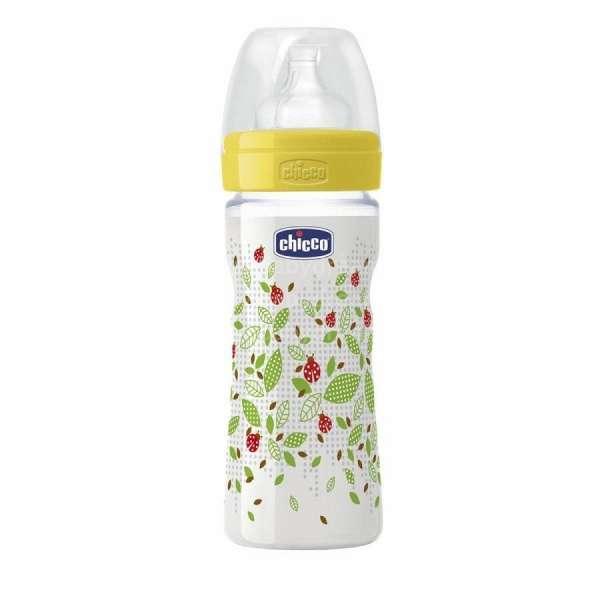 Chicco Fizioloģiska plastmasas pudelīte 250ml, 2m+ silikona knupīti, 70760.01