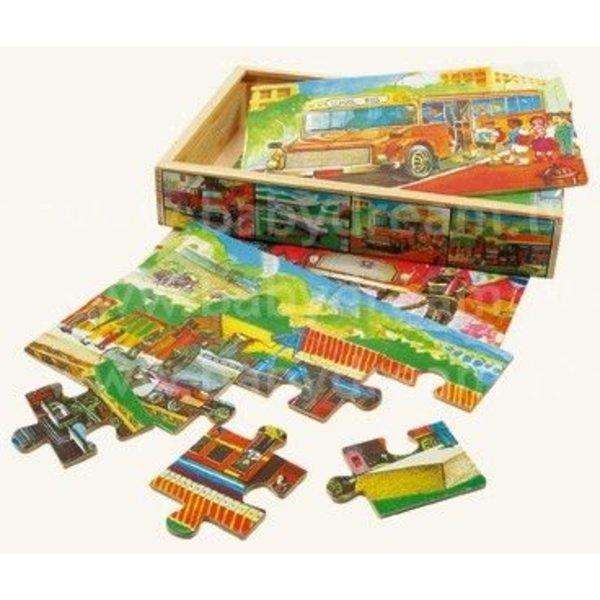 Bino 4 Puzzles in Box, Transport, 88014