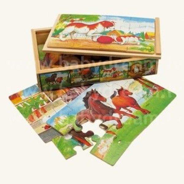 Bino 4 Puzzles in Box, Animals 1, 88015