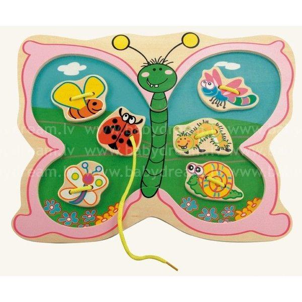 Bino Šņorējamā koka rotaļlieta Butterfly, 88107