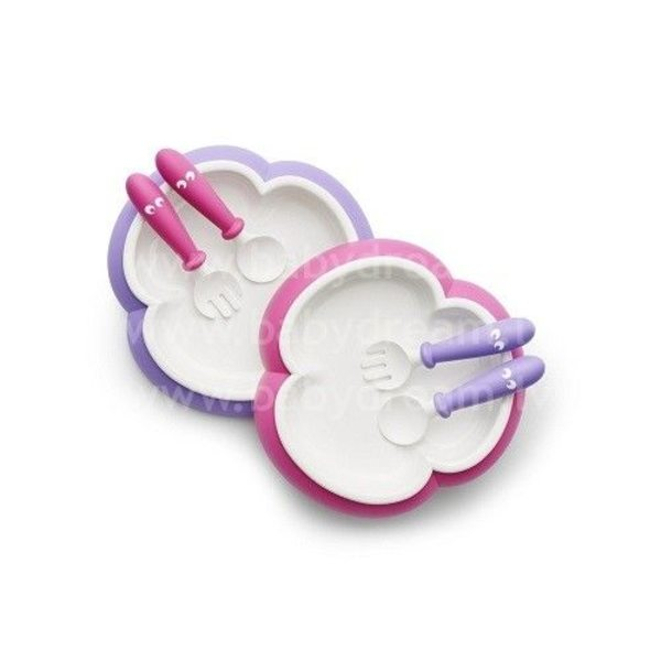 BabyBjorn Galda piederumi Baby Plate, Spoon and Fork 2 sets Pink/Purple