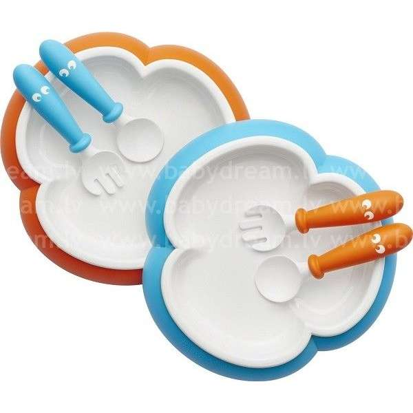 BabyBjorn Galda piederumi Baby Plate, Spoon and Fork 2 sets Orange/Turquoise
